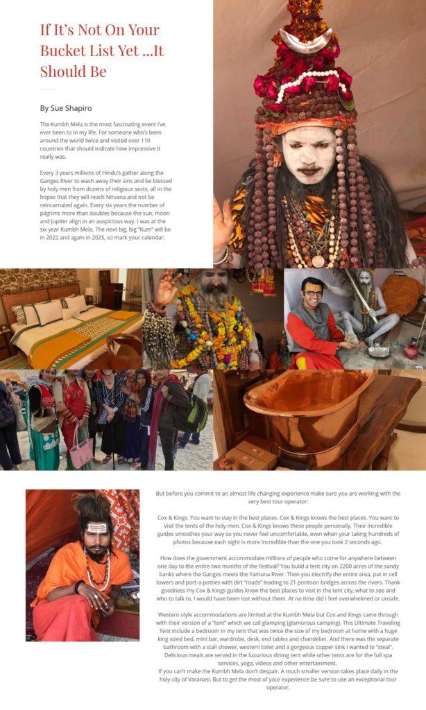 Kumbh Mela article Sue Shapiro
